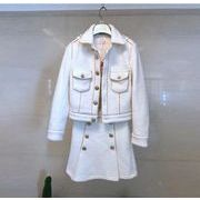 YUNOHAMI 韓国風 セットアップ 長袖 ラペル アウター+短Aラインスカート 羊毛の スリム 気質 秋冬即納