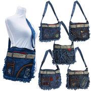 New!!! デニム調ショルダー フリンジと刺繍がお洒落なカジュアルバッグ