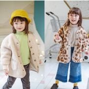 秋冬新作 フワフワコート 女の子 子供 キッズ ジャケット 豹柄 ママ 親子服 コート