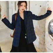 YUNOHAMIコートアウター 韓国ファッション チェック柄  長袖 小さなスーツ カジュアル 学院風 秋冬即納