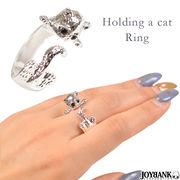 シルバー猫リング 【指輪/キャット/にゃんこ/ストーン/アクセサリー/アニマル】