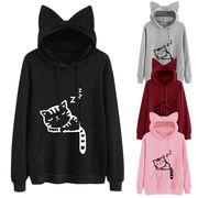 【2019秋冬新作】【大きいサイズ有】韓国ファッション猫プリントフード付きTシャツ