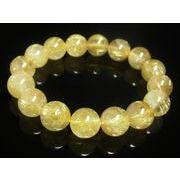 お試し価格 一点物 ゴールドタイチンルチル ブレスレット 金針水晶 天然石  13ミリ R44