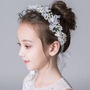 ヘッドドレス 髪飾り キッズ 女の子 ビーズ付き プリンセス 誕生日プレゼント ボンネ カチューシャ 可愛い
