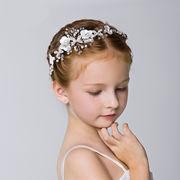 ヘッドドレス 花付き 髪飾り キッズ 女の子 ビーズ付き プリンセス 小枝 ボンネ カチューシャ 可愛い
