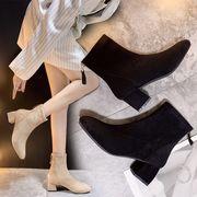 全2色 韓国ファッションカジュアルシューズ  後ろジッパー スエード調 太ヒール ショートブーツ 靴