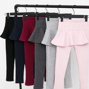 韓国子供服 裏起毛仕様 可愛い キッズ 冬用 女の子 スカート ズボン 防寒 軽量 秋冬 通学 厚 100-160cm