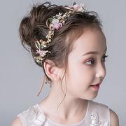ヘッドドレス 花付き 髪飾り キッズ 女の子 ビーズ付き プリンセス 王冠 小枝 ボンネ カチューシャ 可愛い