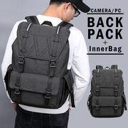 カメラリュック PCリュック インナーバッグ付 メンズ ブラック