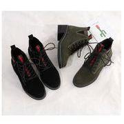 全2色 韓国ファッション ショートブーツパー スエード調 太ヒール ショートブーツ 靴カジュアルシューズ