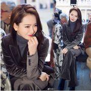 YUNOHAMI韓国風 上下セットアップ ゴールドベルベット 長袖 ダブルボタンスーツ+ 長ズボン おしゃれ 秋冬