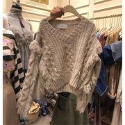 韓国ファッション おしゃれな 秋冬物 早い者勝ち ニット Vネック 怠惰な風 ゆったりする セーター