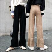 ✨超人気インスタグラムで話題 韓国ファッション  ニット  ゆったりする ワイドパンツ フレアパンツ