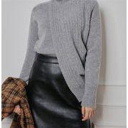 秋早割りSALE中 韓国ファッション タートルネック ニット 百掛け スリム イレギュラー レディース セーター