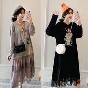 【大きいサイズXL-5XL】ファッション/人気ワンピース♪グレー/ブラック2色展開◆