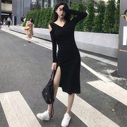 新しいデザイン 秋 女性服 セクシー 襟 肩なし ウエストマーク スプリット ヒップカバ