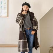 東大門 秋冬 毛皮 カラーブロック チェック柄 レトロ コート チェスターコート カレッジ風 大きいサイズ