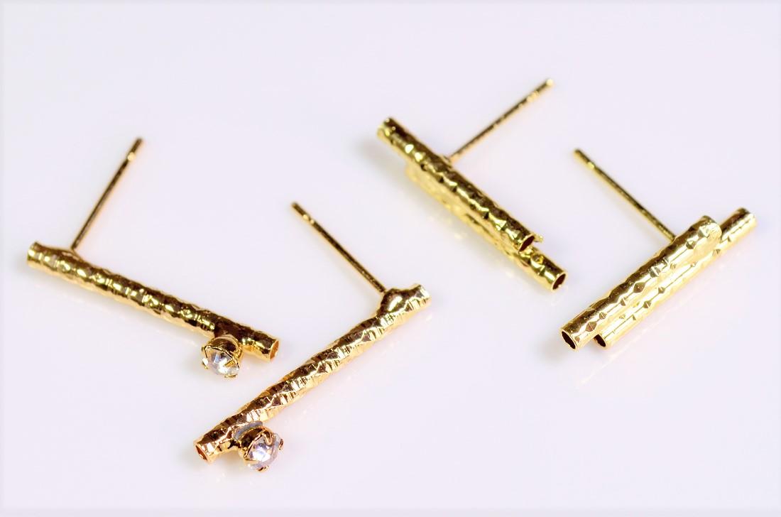 【銅製高品質】パイプパーツ イヤリング金具ピアス金具 極細銅管パイク 基礎金具 トレンドパーツ