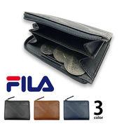 全3色 FILA(フィラ)ドットロゴ型押し ラウンドファスナー コインケース 小銭入れ ミニ財布