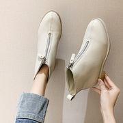 靴 女靴 秋冬 新しいデザイン マーティンブーツ 女性英国スタイル フロントジッパー 太