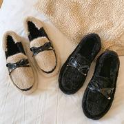 カラー + フラット ピーズ靴 スクープ靴 フット リボン 手厚い 暖かい靴 秋冬 新し