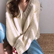 初回送料無料 2019 無地 ゆったり 長袖 ニット セーター 全2色 cjtty-1909bx1094