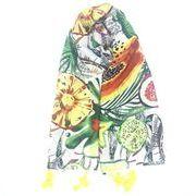 日焼け止めスカーフ 日焼け止めショール 通勤 夏 屋外着 タッセル スカーフ フルーツ柄