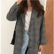 【NEW】シングルチェックコート★韓国ファッション★アウター★秋服★ロング★長袖