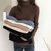 秋冬 女性服 韓国風 単一色 着やせ 着やせ ハイネック ヘッジ 長袖セーター 何でも似