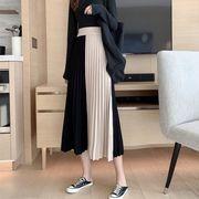 韓国風 風 ハイウエスト 中長スタイル ヒットカラー 切り替え半身裙スカート 女 秋と冬