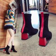 太いヒール ブーツ 女 秋と冬 新しいデザイン ブーツ 韓国風 ソックス ブーツ ハイヒ
