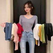 秋と冬 新しいデザイン 女性服 単一色 長袖 着やせ 暖かい ボトムシャツ トップス タ