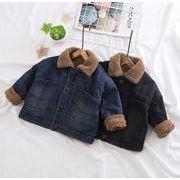 デニムジャケット 冬 厚手 裏起毛 80-120 長袖 レジャー Gジャン 子供服  男の子 女の子