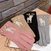 秋冬新作★手袋 五本指 クリスマス 刺繍 鹿 厚手 スマホ対応 暖か 韓国