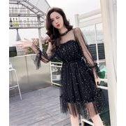 韓国ファッション/CHIC気質/大人気/sweet系/大きい裾/透けて/レーヨン/ワンピース