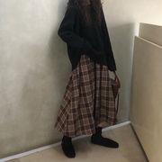 2019 秋冬 韓国ファッション 気質 ち レトロ チェック柄  百掛け 中・長セクション ロングスカート