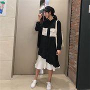 レディースファッション秋新入荷フェイクインナー プリーツ裾 ワンピース ロング長袖ゆったり体型カバー