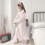 長袖 ナイトドレス 女子学生 手厚い フランネル 若いもの 韓国風 パジャマ 中長スタイ