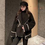 新しいデザイン アンティーク調 中長スタイル スーツの襟 ヒットカラー ラムコート 女