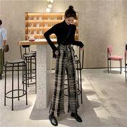 2019 秋冬 新品 韓国ファッション スリム チェック柄 フリンジ カジュアル ワイドパンツ ロングパンツ