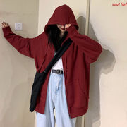 ルース フード付きセーター 女 秋 ジッパー 新しいデザイン 韓国風 怠惰な 風 長袖