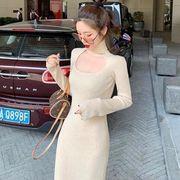 新しいデザイン 秋と冬 女性服 気質 ニットドレス 単一色 着やせ ストレッチ 着やせ