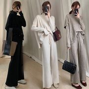 韓国ファッション セーター パンツ2点セット スリムスタイル