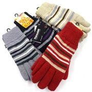 中国製婦人ニット手袋 アクリル ボーダー シンサレート No.5372