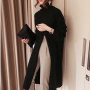 韓国ファッション タートルネック ワンピース ニット ロング スリット