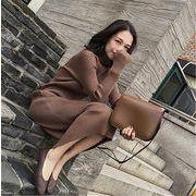 韓国ファッション 着やせ 長袖ワンピース