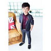 キッズスーツセット   男の子 フォーマルスーツ スーツ2点セット3色 身長90-140cm ボア シャツ2色