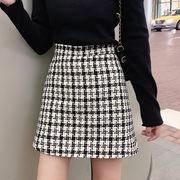 レトロスカート 女性服 秋 新しいデザイン 韓国風 グリッド 裾 短いスカート ハイウエ