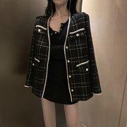 秋冬 韓国風 西洋風 若い女性 ツイード アウターウェア 女 新しいデザイン アンティー