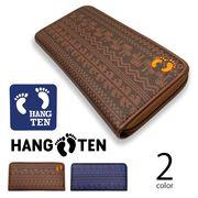 全2色 HANG TEN ハンテン PUレザー ハワイアン模様デザイン型押しラウンドファスナー長財布 ウォレット